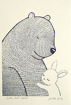 Bear & Bunny Illustration Print Ink Drawing Black White by mikaart