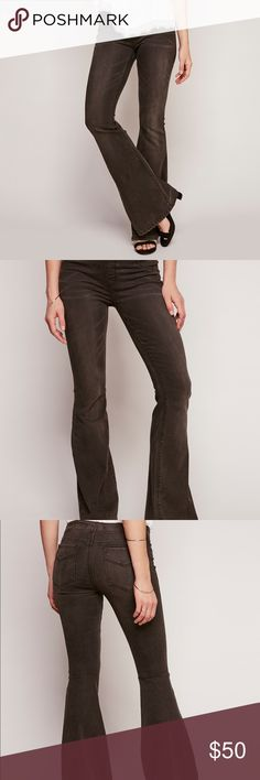 Free people black pull on kick flare jeans In the shade darkest black. Super comfortable with an elastic waste band instead of a standard zipper. Still being sold on free people's website and sold out in this shade and color! In excellent condition! 50% of the proceeds from the sale of this item will be donated to the ACLU and/or Planned Parenthood! 20% off bundles! Make me an offer!    Please note that while the shade is called Darkest Black that the style is meant to replicate a faded jean…