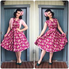 Miss Victory Violet in the Lady Vintage Damson Berry Penny Dress