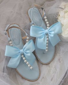 Baby Blue Aesthetic, Light Blue Aesthetic, Aesthetic Shoes, Dr Shoes, Cute Shoes, Me Too Shoes, Pearl Sandals, Rhinestone Sandals, Pearl Shoes