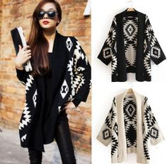 Love the tribal look Girls Sweaters, Cardigans For Women, Autumn Fashion Casual, Autumn Winter Fashion, Tribal Print Cardigan, Aztec Sweater, Vintage Lace Gowns, Tribal Fashion, Womens Fashion
