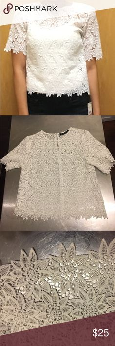 Zara Woman lace blouse Stylist Sale. Zara Woman delicate lace blouse. See through. Must wear something under. I paired it with a simple tank. Very cute and casual/ dressy.  Would look great with skirt too! Zara Tops Blouses