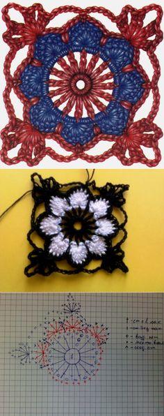 Crochet Squares, Crochet Granny, Knit Crochet, Hairpin Lace Crochet, Crochet Mandala, Crochet Flower Tutorial, Crochet Flowers, Crochet Ornaments, Crochet Girls
