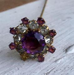 Purple & Clear Prong Set Rhinestone Hatpin FAB - Antique Vintage Hat Pin