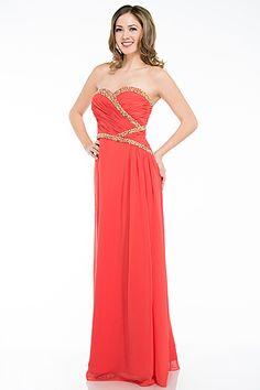 Beaded Prom Dress DR6046. A-Line, Full Length Prom Bridesmaid Dress with Sweetheart and Starpless Neckline features Beading Trim, Ruched Bodice, Long Flowing Skirt. https://www.smcfashion.com/wholesale-prom-dresses/prom-dress-dr6046