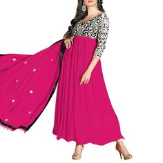 Pink And Black Long Anarkali Suit
