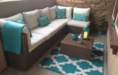 Teal &Tan outdoor look. Have a sun room? Create a relaxing space like this IKEA fan did using the ARHOLMA outdoor lounge furniture. Outdoor Lounge Furniture, Bar Furniture, Wicker Furniture, Wicker Dresser, Wicker Headboard, Headboard Redo, Furniture Covers, Furniture Online, Outdoor Sectional