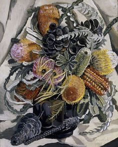 Margaret Preston (Australia, England, France 29 Apr 1875–28 May 1963)   Title-Banksia  Year 1938 oil on canvas