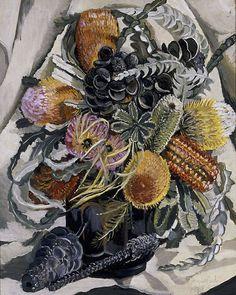 Margaret Preston (Australia, England, France 29 Apr 1875–28 May 1963)   Title-Banksia  Year 1938 oil on canvas