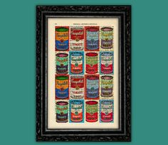 Colorful Tomato Soup Art Print - Andy Warhol Campbell Can Soup Book Poster Dorm Room Print Gift Print Wall Decor Poster Dictionary Art Print