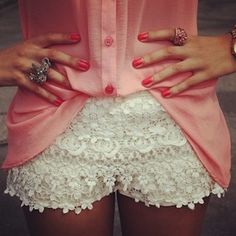 Crochet shorts and pink pastel