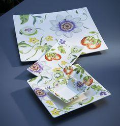 Gien - 'Passiflore' Collection - Platters: Large Square Platter, Deep Square Platter, Rectangular Cake Platter, Candy Dish