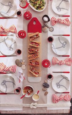 Red Striped Dinner Table Setting
