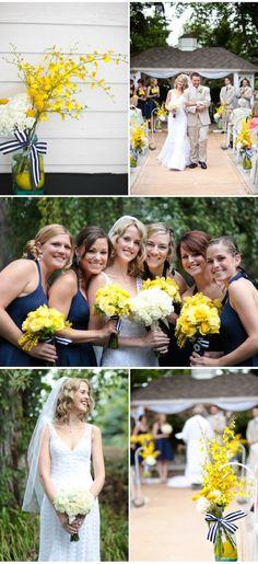 Navy dresses, yellow flowers, striped white/blue ribbon