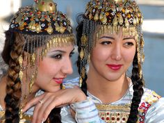 Turkmenistan - Members of a national dance group wear traditional costumes in Ashgabat on July 30, 2010. azathabar.com