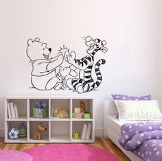 WINNIE THE POOH,TIGER & PIGLET NURSERY QUOTE  WALL STICKER
