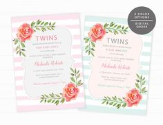 Twins Baby Shower Invite, Printable Invitation, Floral Twins Invitation