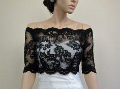 Black Off-Shoulder Alencon Lace Bridal Bolero Wedding jacket WJ003_Black @Jennifer Priolo