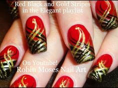 Nail Art | DIY Red Nails with Stripes! Black and Gold Nail Design tutorial - YouTube