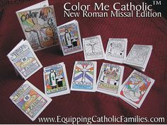 A peek inside Color Me Catholic! | Equipping Catholic Families  new Mass text...rotate 10 little booklets over 10 weeks and teach vessels, vestments, sacramental, sacraments and parts of the Mass...all in one!