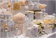 Wedding Candy Bar Buffet ivory or white Buffet Dessert, Lolly Buffet, Dessert Tables, Party Tables, Candy Bar Wedding, Wedding Sweets, Buffet Wedding, Candy Table, Candy Buffet