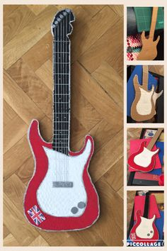 Rockstars Guitar  Guitarra realizada con cartón para carnavales ! Camping Crafts, Fun Crafts, Diy And Crafts, Crafts For Kids, Cardboard Box Fort, Cardboard Crafts, Kid Costume, Music Centerpieces, Rock And Roll Birthday