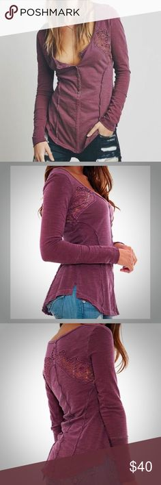Free People Keepsake Crochet Henley •Free People Long Sleeve Tee •Women's Size Medium •Plum Colored •Lace and Button Detailing Free People Tops Tees - Long Sleeve