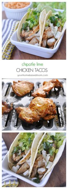Chipotle Lime Chicken Tacos Recipe - Chipotle Lime Chicken Tacos are a delicious and easy dinner for a busy week. Can be cooked under the broiler or on the grill.  Either way, they are SO good!  CHIPOTLE LIME CHICKEN TACOS RECIPE (BROILED OR GRILLED!)