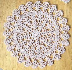 "Dollhouse Miniature Tablecloth / Doily 6"" Ecru Hand Crocheted New"