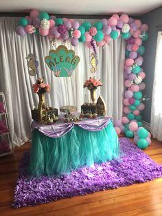 Baby girl birthday theme ideas under the sea ideas Baby Girl Birthday Theme, Little Mermaid Birthday, Bday Girl, Birthday Party Decorations, Birthday Parties, Birthday Ideas, Mermaid Baby Showers, Mermaid Parties, Theme Ideas