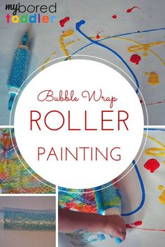 Bubble wrap roller painting is such a fun sensory play idea for babies, toddlers and preschoolers. If you are looking for different painting ideas for toddlers and preschoolers, then this one is a must try! A great kids painting idea.
