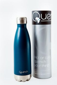 Quench Bottle Dark. Unbreakable double wall stainless steel insulated flask. Keeps Beverage cold for 24H and warm for 18H. GoodiesHub.com Beverages, Drinks, Water Bottles, Flask, Stainless Steel, Cold, Warm, Gifts, Stuff To Buy