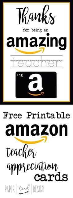 Free Printable Amazon Teacher Appreciation Card . Give your child's teacher something they actually want! Teacher Cards, Teacher Treats, Teacher Christmas Card, Teacher Thank You Gifts, Coach Christmas Gifts, Daycare Teacher Gifts, Coach Gifts, Student Teacher, Staff Gifts
