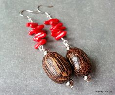 Wood and Coral Dangle Earrings by JamieRayCreations, $19.00 https://www.etsy.com/listing/184534456/wood-and-coral-dangle-earrings-wooden