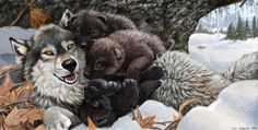 Wolf Mother's Day and her Pile of Puppies by Psithyrus.deviantart.com on @deviantART