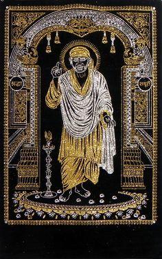 Shirdi Sai Baba - (Silver and Golden Glitter Painting) (Glitter Painting on Velvet Cloth - Unframed)