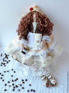 Купить Тильда фея.Кофеюшка.Кофейный ангел! Текстильная кукла для кухни - коричневый, тильда кукла ☆
