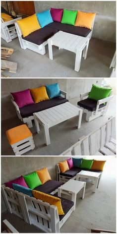 Incredible Handcrafted Pallet Wood Projects You Can DIY: Bringing incredible ideas of wood pallet furniture into the house would be adding your house with such an fantastic impacts. Diy Pallet Couch, Pallet Patio Furniture, Reclaimed Wood Furniture, Furniture Plans, Cool Furniture, Outdoor Furniture Sets, Furniture Design, Pallet Tables, Luxury Furniture