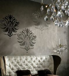 Damask Stencil Gabi's Brocade, size LG reusable stencils for walls instead of wallpaper, great for inexpensive DIY decor (etsy)