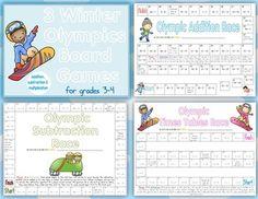 Winter Olympics Math Board Games, $