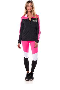 34c803a6ea0e2 Imported Polyester Spandex Pink White BLV Ladies fashion new york logo  active sport yoga   zumba 2 pc set zip up jacket   leggings outfit