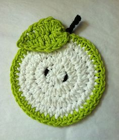 Crochet Green Apple Coasters by Christine Longe