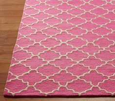 Addison Rug, 3 X 5, Bright Pink mirrors the Raleigh Bed white with bright pink monogram.
