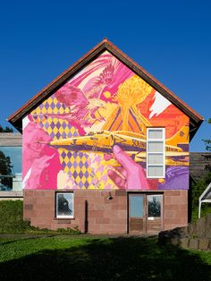 3Steps | The Sense of Things | plane | yellow | pink | colors | colours | mural | Germany | Kleinsassen | graffiti | urban | Art | eagle | patterns | sky | sunny | hands