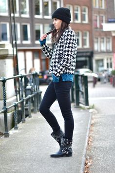 outfit biker boots houndstooth jacket