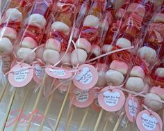 Baptism ~ Joint Boy/Girl ~ Dessert ~ Favors ~ Candy-kabobs  |  in candies of Pinks and Blues