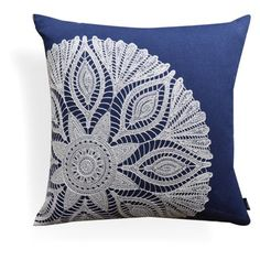 Embroidery Crewel Home Collections LLC Indigo Crewel Embroidery Cotton Throw Pillow - Add a stylish and unique look to your room with this accent pillow. The hand-embroiedered pattern give the pillow an interesting look with a soft and simple design. Embroidery Designs, Crewel Embroidery Kits, Embroidery Needles, Vintage Embroidery, Embroidery Supplies, Embroidery Tattoo, Towel Embroidery, Crochet Cushions, Crochet Motif