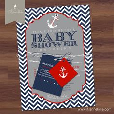 baby boy shower invitation suite with tags nautical theme