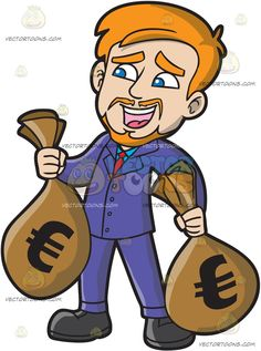 An Ecstatic Man Carrying Bags Of Euro Money :  A man with orange hair mustache and beard wearing a sky blue dress shirt red necktie purple suit and black shoes parts his lips in delight while carrying two big sacks of Euro money in his hands  The post An Ecstatic Man Carrying Bags Of Euro Money appeared first on VectorToons.com.   #clipart #vector #cartoon