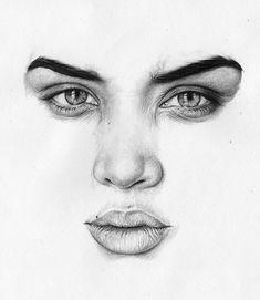 """Jasmine Sanders"" - T.S Abe (b. 1989), graphite {figurative art female head woman face portrait pencil drawing} tsabe.co.uk"